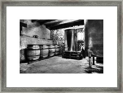 Waiting For Wine Bw Framed Print by Mel Steinhauer