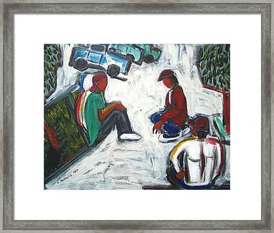 Waiting For Work Framed Print by Albert  Almondia