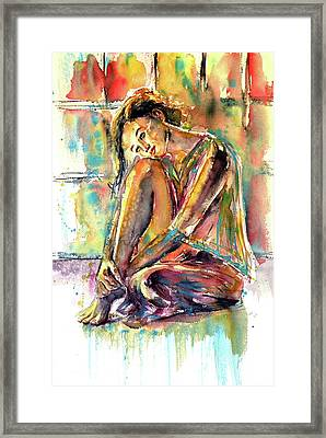 Framed Print featuring the painting Waiting For You by Kovacs Anna Brigitta
