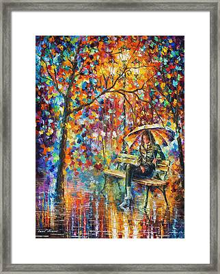 Waiting In The Rain Framed Print by Leonid Afremov