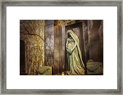 Waiting Lady  Powazki Cemetery Warsaw  Framed Print