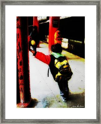 Waiting On The Q Train In Flatbush Framed Print