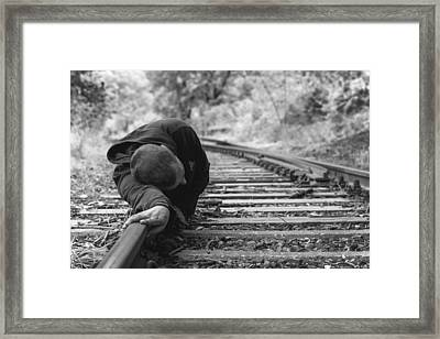 Waiting On The Rails Framed Print