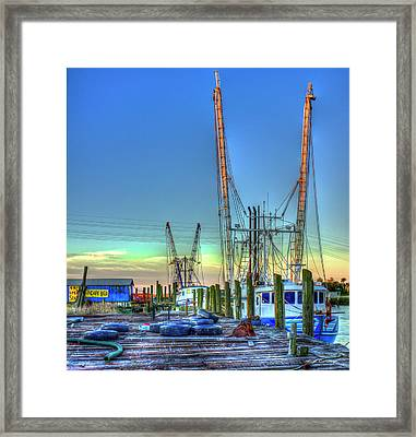 Framed Print featuring the photograph Waiting Shrimp Boats Wilmington River Tybee Island Georgia Art by Reid Callaway