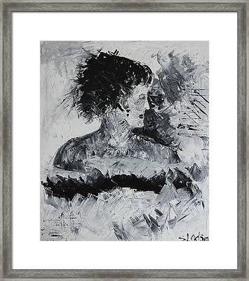Framed Print featuring the painting Waiting... by Sladjana Lazarevic