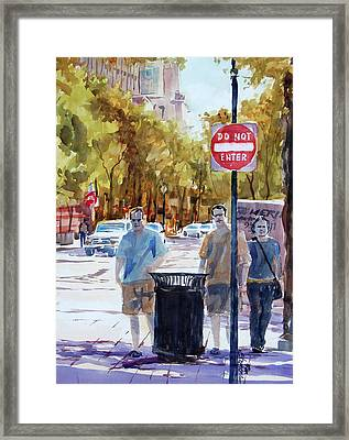 Waiting To Cross Framed Print by Ron Stephens