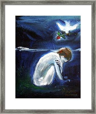 Framed Print featuring the painting Waiting by Winsome Gunning