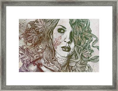Wake - Autumn - Street Art Woman With Maple Leaves Tattoo Framed Print