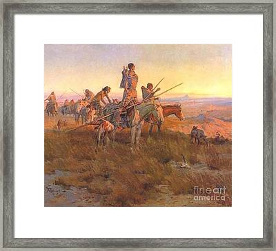 Framed Print featuring the painting Wake Of The Buffalo Runners by Pg Reproductions