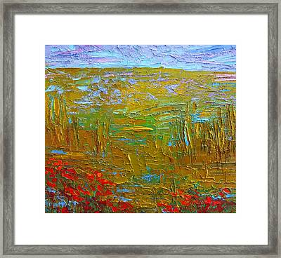 Waking Up At Dawn Poppy Field Modern Impressionist Landscape Palette Knife Oil Painting Framed Print by Patricia Awapara