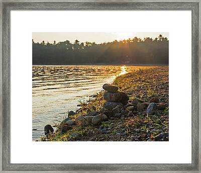 Walden Pond Rock Cairn At Sunrise Concord Ma Framed Print