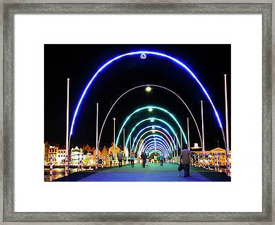 Framed Print featuring the photograph Walk Along The Floating Bridge, Willemstad, Curacao by Kurt Van Wagner