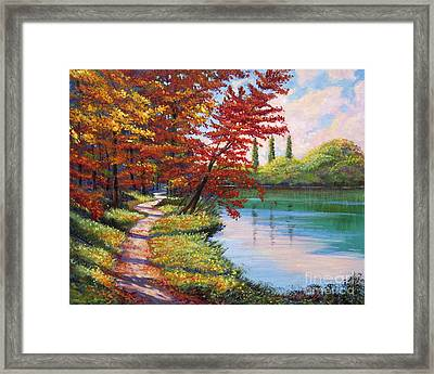 Walk Along The Lake Framed Print by David Lloyd Glover