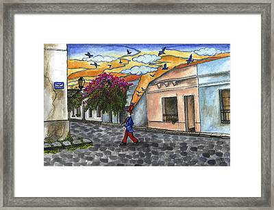 Walking By The Old City Framed Print by Graciela Bello