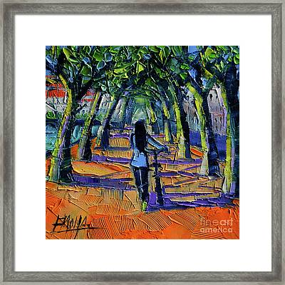 Walk Beneath The Plane Trees Framed Print by Mona Edulesco