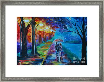 Framed Print featuring the painting Walk By The Lake  by Leslie Allen
