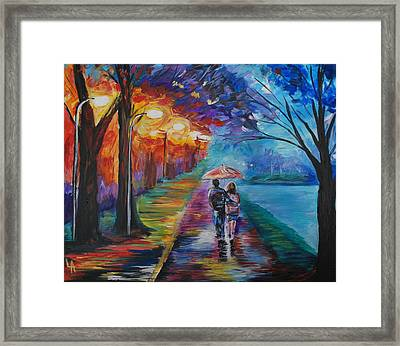Framed Print featuring the painting Walk By The Lake Series 1 by Leslie Allen