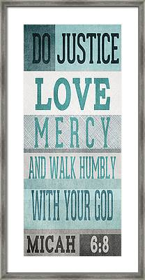 Walk Humbly- Tall Version Framed Print by Linda Woods