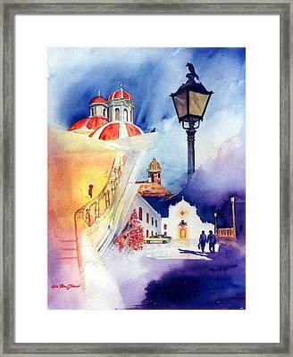Walk In Old San Juan Framed Print by Estela Robles