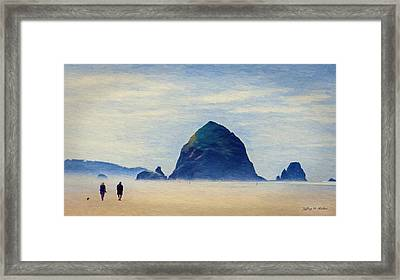 Framed Print featuring the painting Walk On The Beach by Jeff Kolker