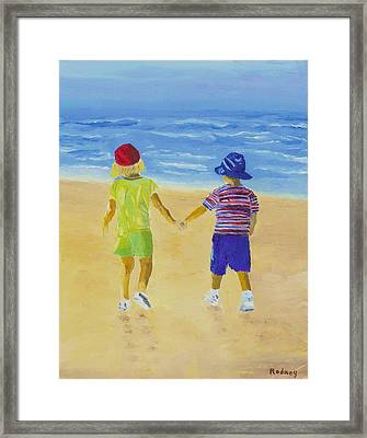 Framed Print featuring the painting Walk On The Beach by Rodney Campbell