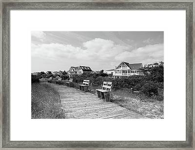 Walk Through The Dunes In Black And White Framed Print