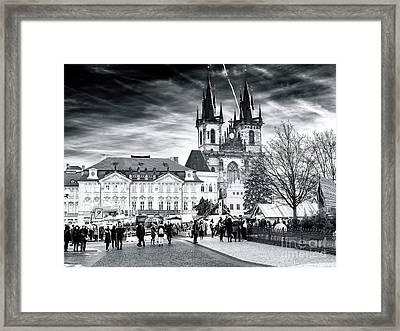 Walk Through The Prague Christmas Market Framed Print by John Rizzuto