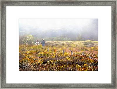 Walk With A Friend On A Foggy Day In Cambria Painting Framed Print