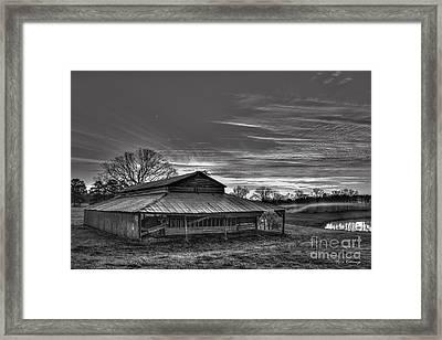 Walker Barn Sunrise B W Art Framed Print