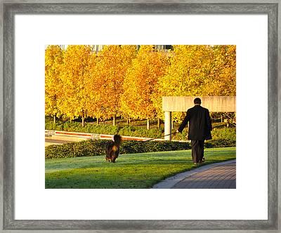 Walkies In Autumn Framed Print