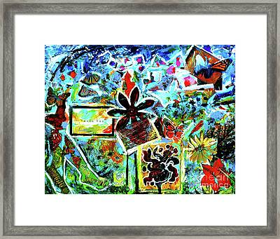 Framed Print featuring the mixed media Walking Amongst The Monarchs by Genevieve Esson