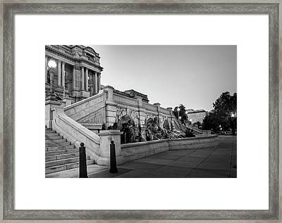 Framed Print featuring the photograph Walking By The Library Of Congress In Black And White by Greg Mimbs