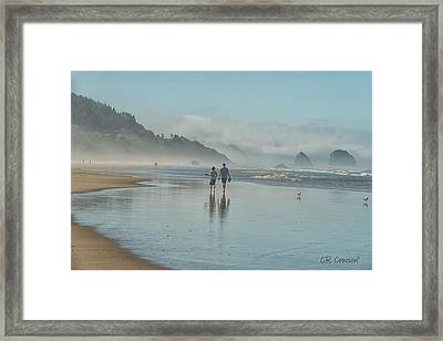 Walking Cannon Beach Framed Print by CR  Courson