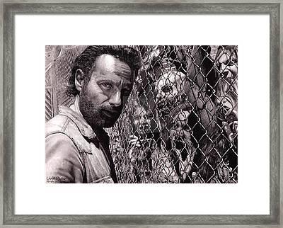 Walking Dead Faceing  Framed Print by Oscar Lopez