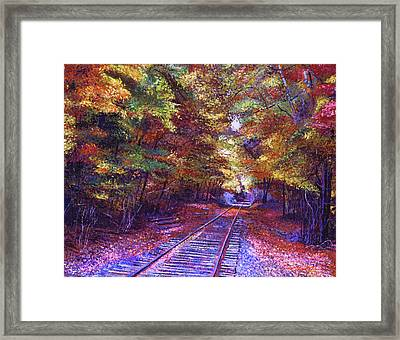 Walking Down The Railway Tracks Framed Print