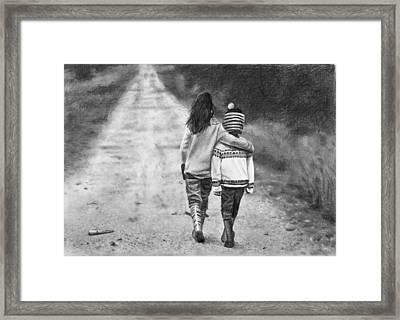 Walking Down The Road Framed Print by Nolan Clark