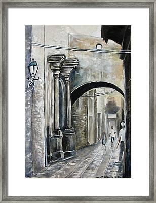 Walking Down The Street Framed Print