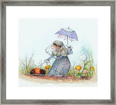 Walking Fuzzy Framed Print by Peggy Wilson