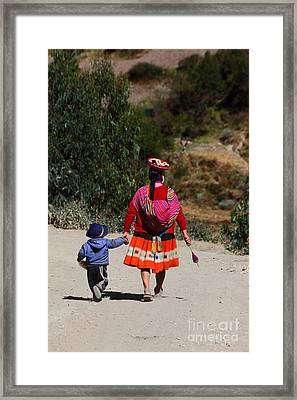 Walking Home From Kindergarten Framed Print by James Brunker