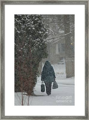 Walking Home In The Snow Framed Print
