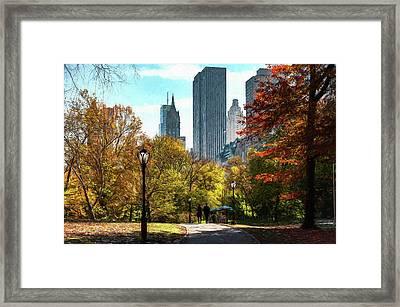 Walking In Central Park Framed Print