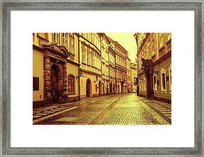 Framed Print featuring the photograph Walking In Prague. Series Golden Prague by Jenny Rainbow