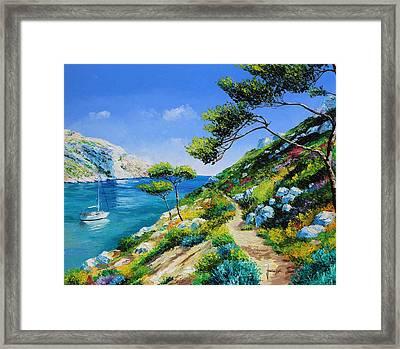 Walking In The Cove Framed Print by Jean Marc Janiacyk