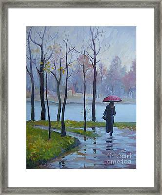 Framed Print featuring the painting Walking In The Rain by Elena Oleniuc