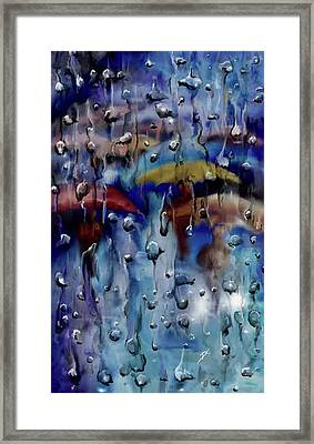 Framed Print featuring the digital art Walking In The Rainfall by Darren Cannell
