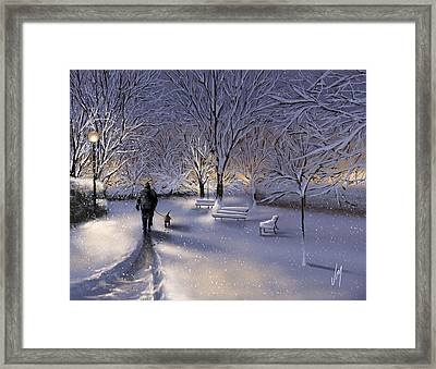 Walking In The Snow Framed Print by Veronica Minozzi