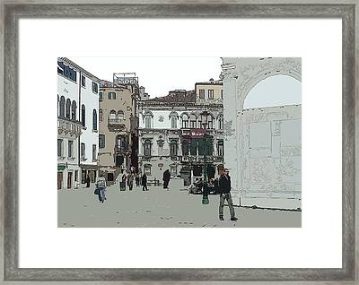 Walking In Venice Framed Print by Mindy Newman