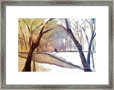 Walking In White Framed Print