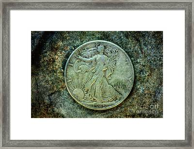 Framed Print featuring the digital art Walking Liberty Half Dollar Obverse by Randy Steele