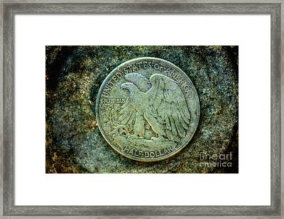 Framed Print featuring the digital art Walking Liberty Half Dollar Reverse by Randy Steele